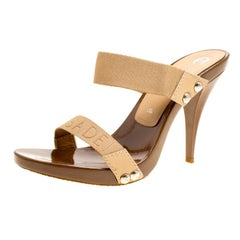 Casadei Beige Cotton Blend Slide Sandals Size 37.5