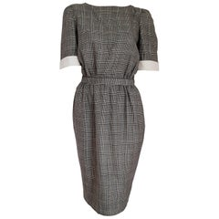 "VALENTINO ""New"" Black White Prince of Wales Wool Dress - Unworn"