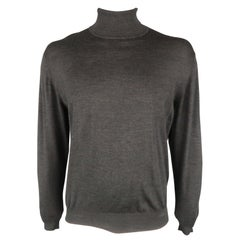 BRIONI Size 42 Gray Solid Wool Turtleneck Pullover