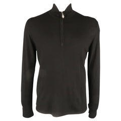 HERMES Size L Black Solid Cashmere / Silk Half Zip Pullover