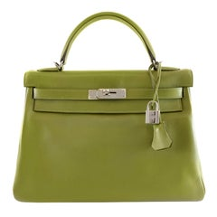 Hermès Vert Anis Swift Leather 32 cm Kelly Bag