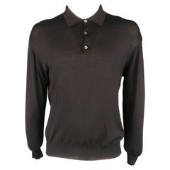 BRIONI Size L Black Solid Wool Buttoned Pullover