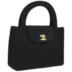 Chanel Black Braided Knit Top Handle Satchel Kelly Style Evening Flap Bag in Box
