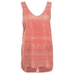 Chloe Salmon Pink Crochet Knit Tank Top M