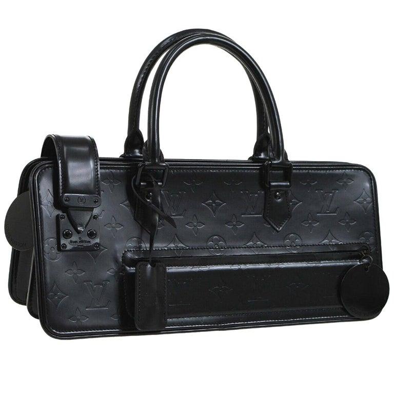 6edf175a0d9 Louis Vuitton Black Leather Monogram Evening Triangle Top Handle Satchel  For Sale