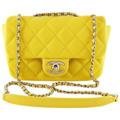 Chanel Yellow Lambskin Mini Classic