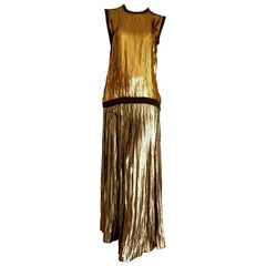 "VALENTINO ""New"" Cashmere Top with Golden Sequins Pleated Golden Skirt - Unworn"