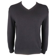 LORO PIANA Size 40 Navy Solid Cashmere V-Neck Pullover