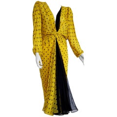 "VALENTINO ""New"" Haute Couture Yellow, Black Polka Dot Black Chiffon Gown- Unworn"