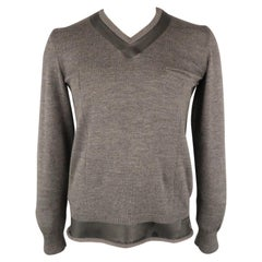UNDERCOVER Size L Charcoal Solid Wool V-Neck Pullover