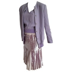 "VALENTINO ""New"" Haute Couture Lilac Top Jacket Pleated Skirt Sequins Silk-Unworn"