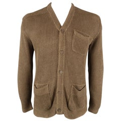 RALPH LAUREN Size L Tan Ribbed Knit Camel Hair Blend Buttoned Cardigan