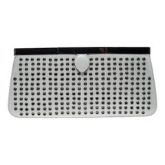 Alaia Light Grey Leather Eyelet Clutch