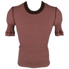 DOLCE & GABBANA Size XS Burgundy & Brown Stripe Rayon Blend Crew-Neck Pullover