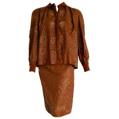 "VALENTINO ""New"" Jacket Skirt Perforated Brown Leather Embroidered Suit - Unworn"