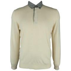 BRUNELLO CUCINELLI Size L Beige Solid Cashmere Button Down Pullover