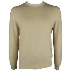 BRUNELLO CUCINELLI Size 42 Beige Solid Cashmere Crew-Neck Pullover