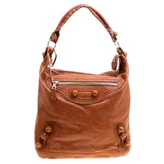Balenciaga Brown Leather Giant Covered Brogues Day Hobo