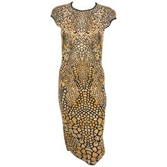 2009 Alexander McQueen Stretch Knit Golden and Black Dress