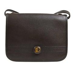 Hermes Brown Leather Gold Crossbody Carryall Shoulder Flap Bag