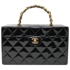 Chanel Patent Black Gold Hardware Beauty Train Case