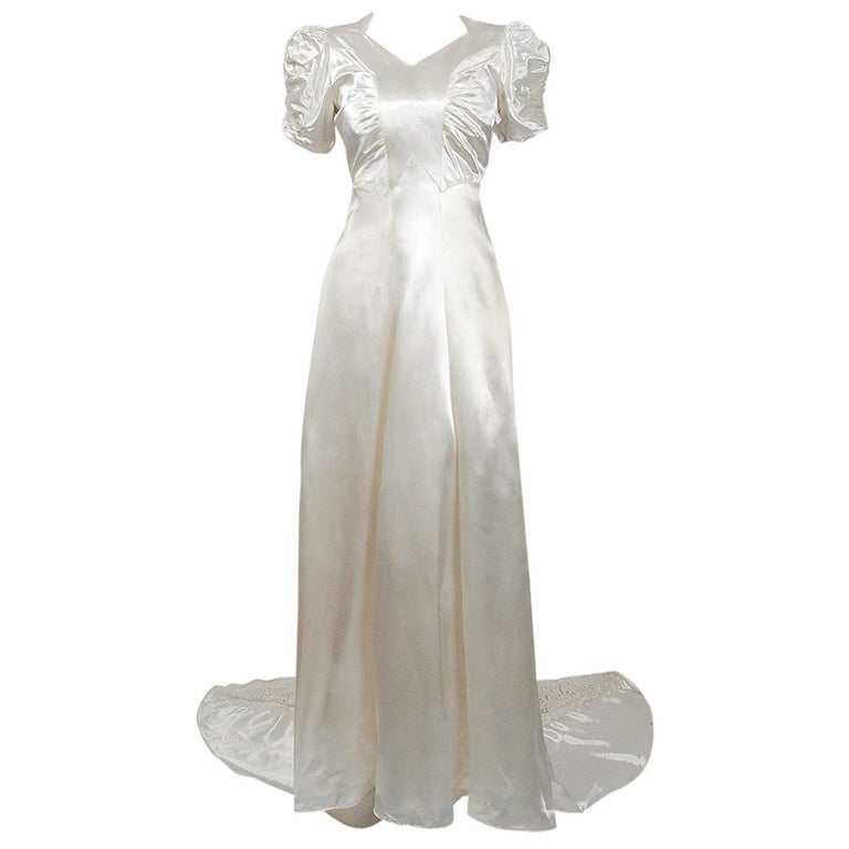 1930's Ivory Satin & Lace Ruched Puff-Sleeve Full Length Trained Bridal Gown For Sale