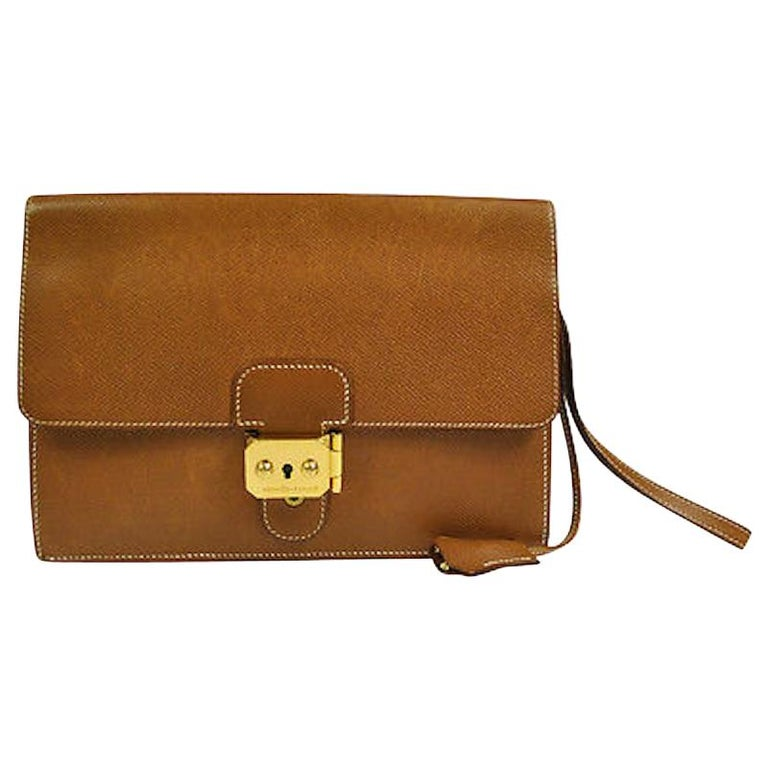 Hermes Cognac Leather Gold Flip Lock Wristlet Evening Flap Clutch Bag with Keys For Sale