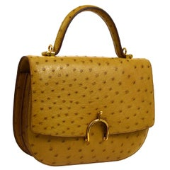 Hermes Rare Mustard Ostrich 2 in 1 Kelly Style Top Handle Satchel Shoulder Flap