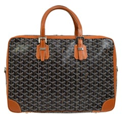 Goyard Black Monogram Weekend Duffle Men's Women's Top Handle Tote Travel Bag