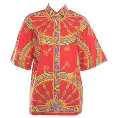 Dolce and Gabbana Red Sicilian Tassel Printed Cotton Short Sleeve Shirt M