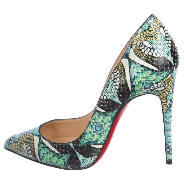 buy online 80582 bbd2e Christian Louboutin NEW Teal Multi Color Python Print Evening Heels Pumps