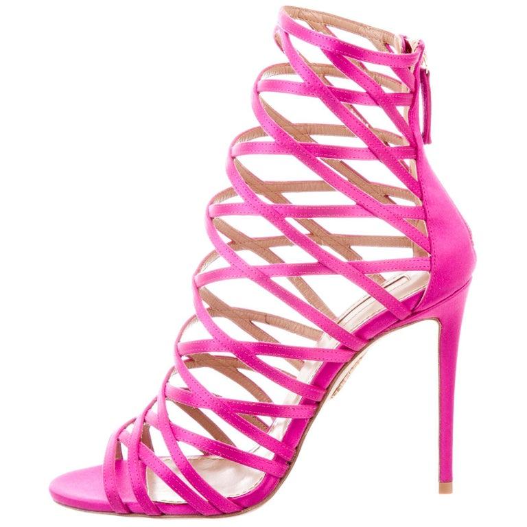 ce346bdaa265 Aquazzura NEW Hot Pink Fuchsia Satin Cut Out Gladiator Evening Sandals Heels  For Sale