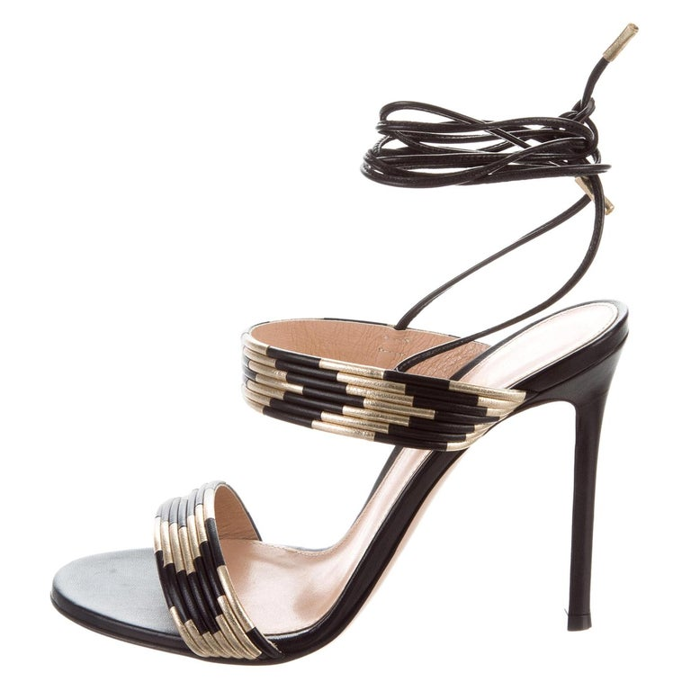 022663863b9 Gianvito Rossi NEW Black Gold Leather Strappy Tie Evening Sandals Heels For  Sale