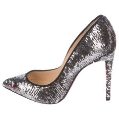 Christian Louboutin NEW Silver Woven and Sequin Evening Heels Pumps