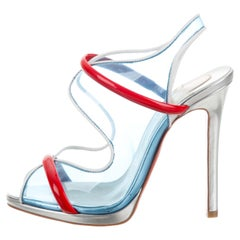 Christian Louboutin NEW Blue Red Clear PVC Evening Strappy Sandals Heels