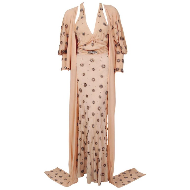 1932 Tallulah Bankhead Movie-Worn Beaded Blush Silk Bias Cut Deco Gown & Jacket For Sale