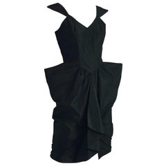 Vintage Thierry Mugler Cocktail Dress Black Fitted Sculptural Taffeta Sz 9