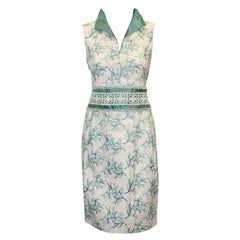 Paola Quadretti White & Turquoise Embroidered Dress
