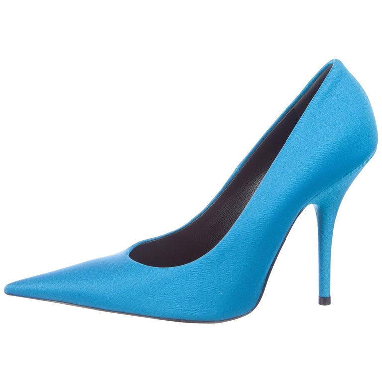 Balenciaga NEW Blue Satin Fabric Sock Evening Heels Pumps in Box