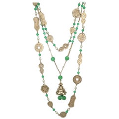 Pair Vintage Asian Gold Tone Chain Necklaces With Jade Glass Bead