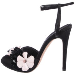 Giambattista Valli NEW Black Resin Rhinestone Flower Evening Sandals Heels