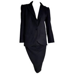 "VALENTINO ""New"" Black Cashmere Jacket Collar Velvet Skirt Suit - Unworn"
