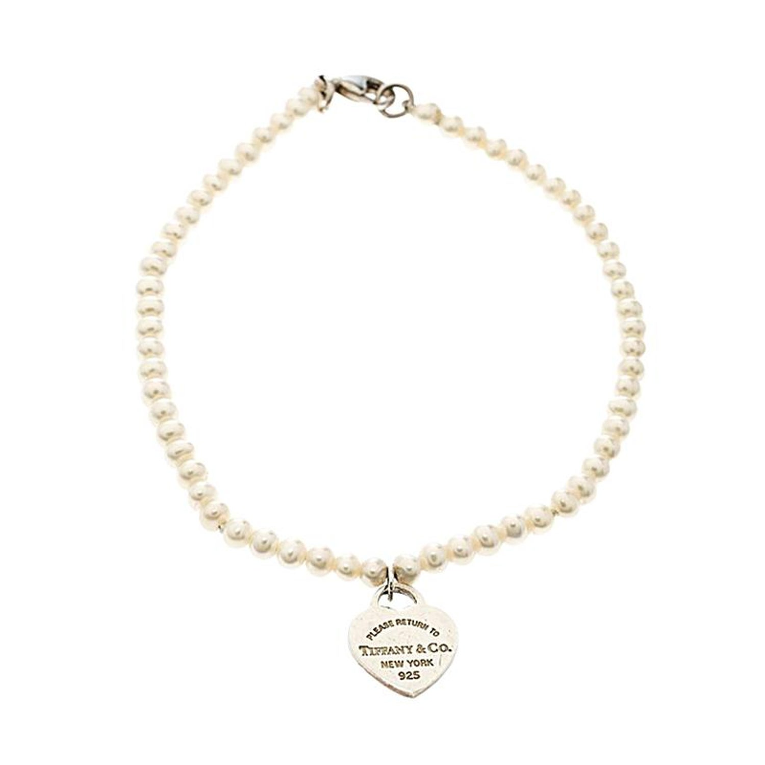 97d6c8594 Tiffany and Co. Return To Tiffany Pearl Silver Heart Tag Bracelet For Sale  at 1stdibs