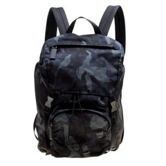 Prada Dark Blue Nylon Camouflage Drawstring Backpack