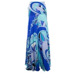 Emilio Pucci Blue Printed Silk Maxi Skirt M