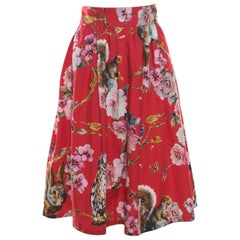 Dolce and Gabbana Red Enchanted Forest Printed Cotton Pleated Skirt M