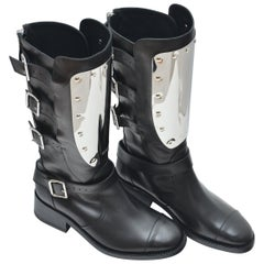 CHANEL  Calfskin Biker Boots with Engraved Silver Plate  Size 38   NEW