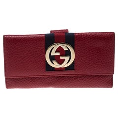 Gucci Red Leather Web GG Interlocking Continental Wallet
