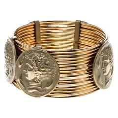 Dolce and Gabbana Monete Coin Gold Tone Wide Bracelet