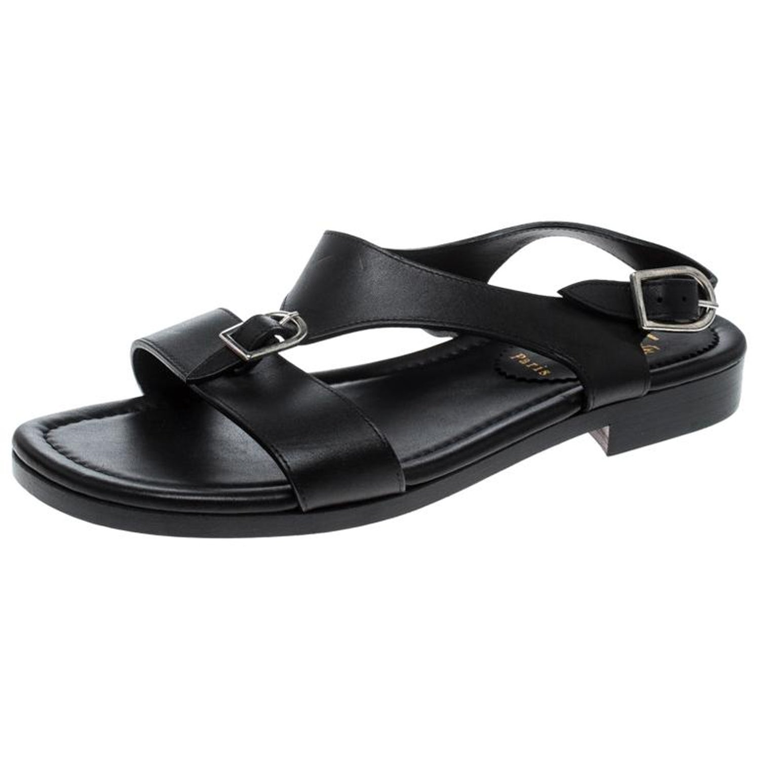 900048fa1d66 Christian Louboutin Black Leather Don Giovanni Flat Sandals Size 43 For Sale  at 1stdibs